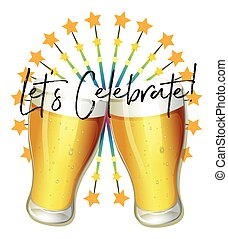 Word expression for let's celebrate with two glasses of beer