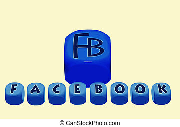 word Facebook on cubes