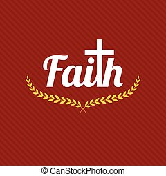 word faith , typography design with wreath and cross
