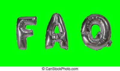Word faq from helium silver balloon letters floating on...