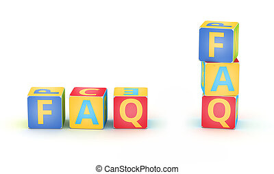 FAQ spelled by abc cubes