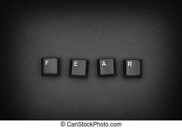 """Word """"Fear"""" written with computer keyboard keys"""