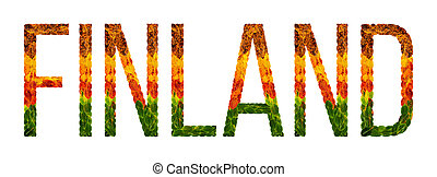 Word Finland Country Is Written With Leaves On A White Insulated Background Banner For