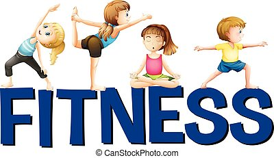 Word fitness with people doing yoga illustration