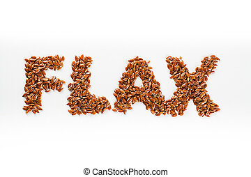 Word flax piled of flax seed on white background.
