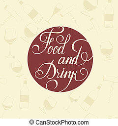 Word Food and Drink - on a white plate.