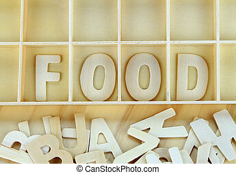 Word food made with wooden letters alphabet