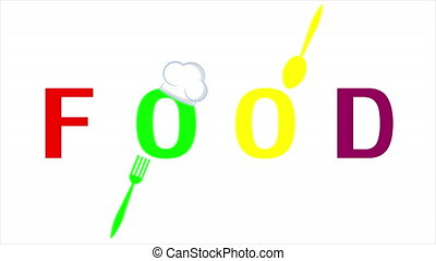 Word food with spoon fork and chefs hat, art video illustration.