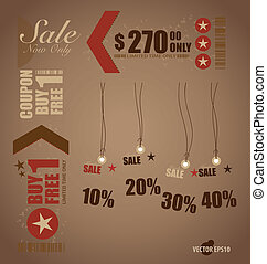 Word for Price tag, sale coupon, voucher. Vector...