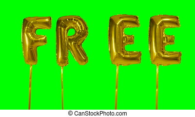 Word free from helium golden balloon letters floating on...