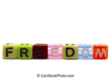 word freedom in rainbow colored cubes isolated on white background, heart symbol