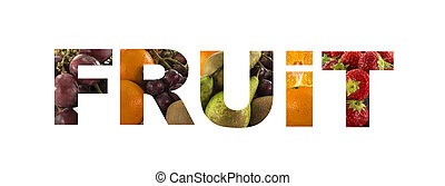 word fruit made from fresh fruit photos