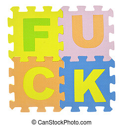 "Word ""Fuck"" with jigsaw puzzle pieces isolated on white"
