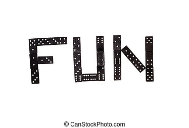 """Word """"Fun"""" made by black domino pieces isolated on white background"""