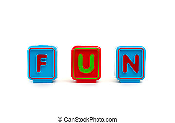 Word FUN with colorful blocks and white background