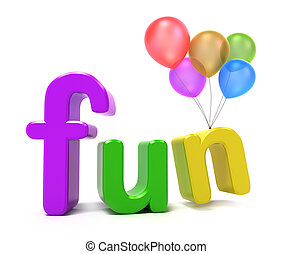 Word fun with colourful letters. 3D concept on white ...
