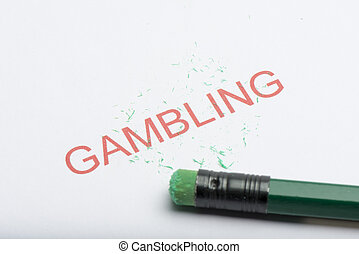 Word 'Gambling' with Worn Pencil Eraser and Shavings