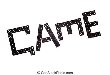"""Word """"game"""" made by black domino pieces isolated on white background"""
