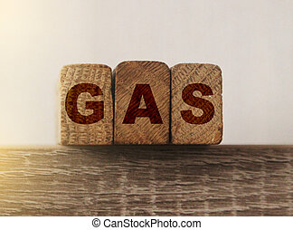 Word GAS formed by alphabet blocks. World economy concept