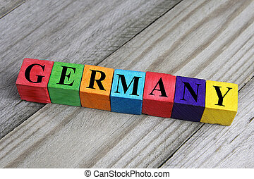 word germany on wooden cubes