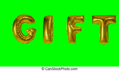 Word gift from helium gold balloon letters floating on green...