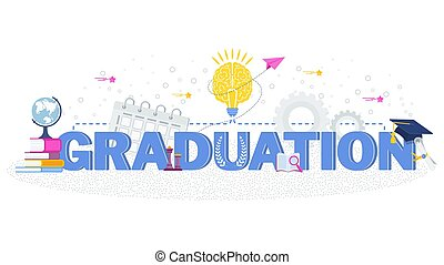 Word graduation typography vector concept