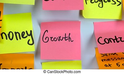 Word growth on sticker in office room on blackboard