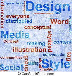 Word Grunge collage on background.