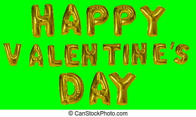 Word happy valentine day from helium golden balloon letters...