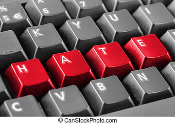 Word hate written with keyboard buttons