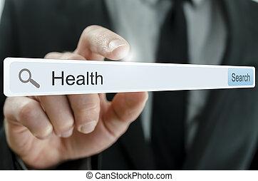 Word Health written in search bar on virtual screen.