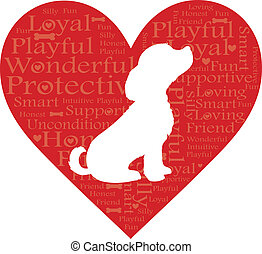 Word Heart Dog - A red heart with words describing a dog and...