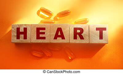 Word heart on wooden cubes. Healthcare concept
