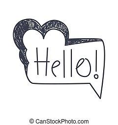 Word Hello, Hand Drawn Comic Speech Bubble Template,...