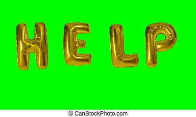 Word help from helium gold balloon letters floating on green...
