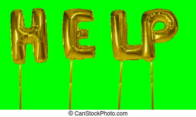 Word help from helium golden balloon letters floating on...