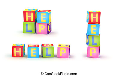 HELP spelled by abc cubes