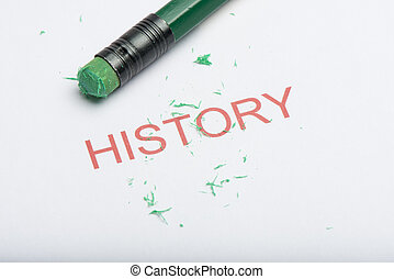 Word 'History' with Worn Pencil Eraser and Shavings