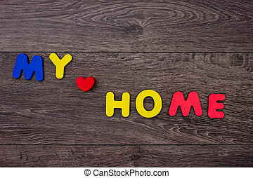 Word Home from wooden letters