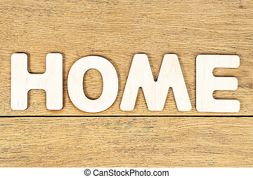 word home of wooden letters on board