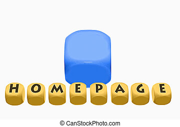 word Homepage on cubes