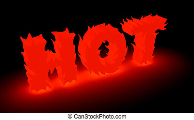 """Word """"hot"""" made from flame - burning """"hot"""" word in red"""