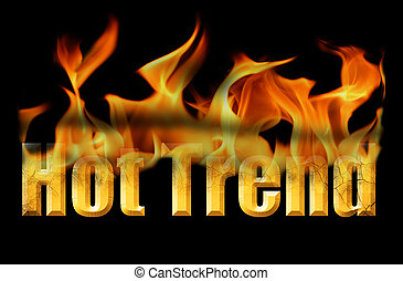 This stock image is the word hot trend, in fire text on a black background.