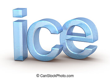Word ice on white
