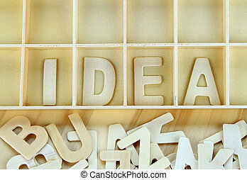 Word idea made with wooden letters alphabet