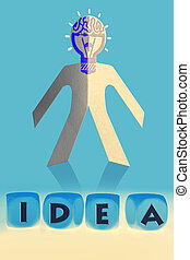 word Idea on cubes in front of paper man