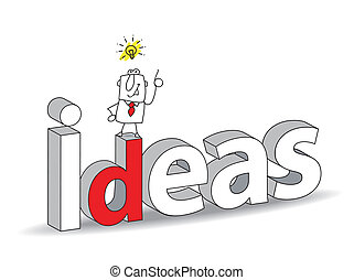 "Ideas - Word ""Ideas"" in a 3D style with Joe the businessman...."