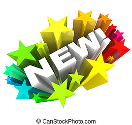 The word New in white letters surrounded by a burst of stars or fireworks, announcing a new product or improved object, service or a news announcement