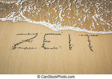 Word in the sand - An image of a word in the sand: ZEIT