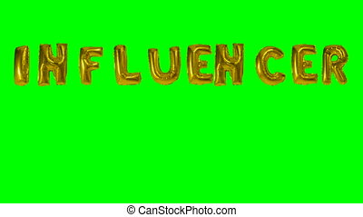 Word Influencer from helium gold balloon letters floating on...